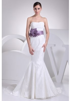 Mermaid Sash Strapless Lace Brush Train Wedding Dress