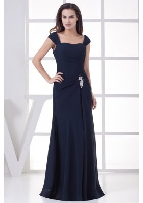 Navy Blue Straps Column Appliques Long Prom Dress