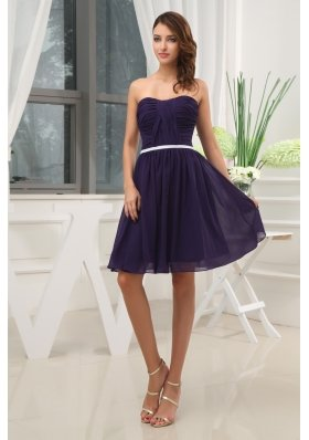Ruching Empire Purple Strapless short 2013 Prom Dress