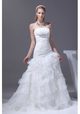 Ruffled Layers A-line Brush Train Strapless Wedding Dress