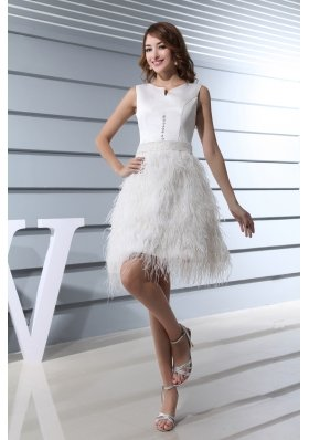 Ruffles Scoop Knee-length Beading Prom Dress