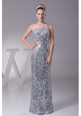 Sequin One Shoulder Column Floor-length Prom Dress