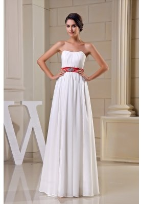 Strapless Beading Belt Chiffon Wedding Dress