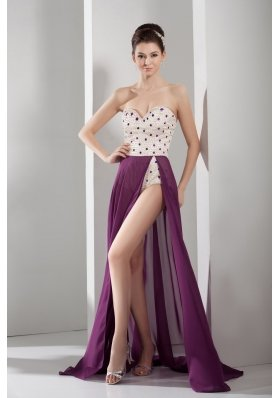 Venetian pearl Column Sweetheart long Prom Dress in Purple