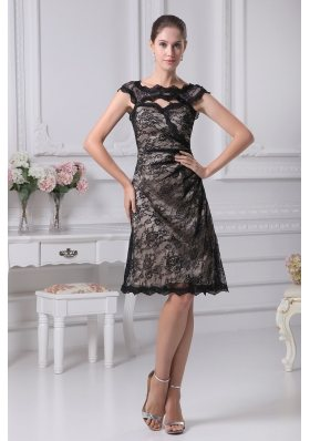 Bateau Lace Black Knee-length A-line Mother of the Bride Dress