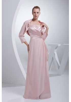 Beading and Ruching Straps Baby Pink Mother of the Bride Dresses