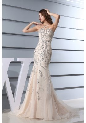 Beading Mermaid Sweetheart Brush Train Prom Dress