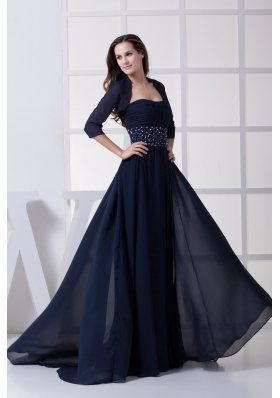 Beading Strapless Navy Blue Mother of the Bride Dresses