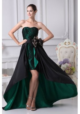 Black and Green Sweetheart Bowknot High-low Prom Dress