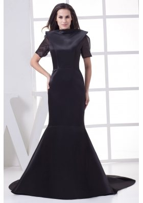 Black High-neck Short Sleeves Mother of the Bride Dresses
