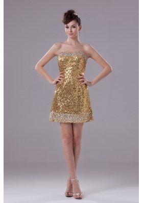 Column Gold Strapless Short Sequin Prom Dress