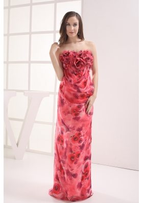 Column Strapless Printing Hand Made Flowers Prom Dress