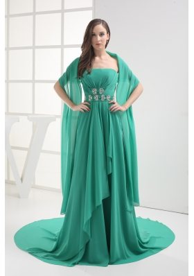 Empire Turquoise Strapless Appliques Ruching Prom Dress