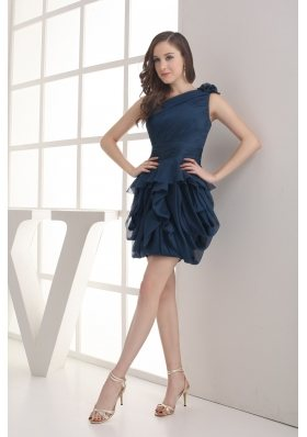 Navy Blue One Shoulder Ruching Mini-length Prom Dress