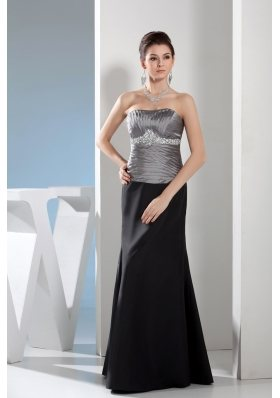 Rhinestone Strapless Black and Silver Mother of the Bride Dresses