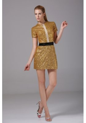 Short Scoop Short Sleeves Sequin prom Dress