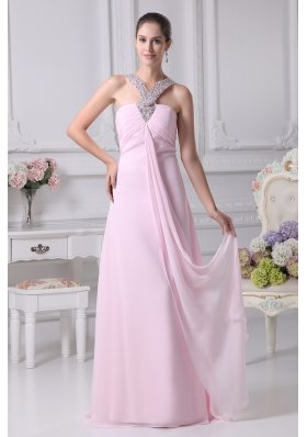 V-neck Baby Pink Empire Beading Long Prom Dress