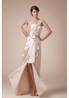 Hottest One Shoulder High Slit Column Long Prom Dress