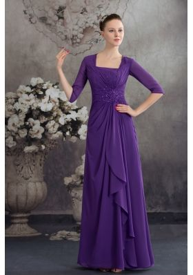 Square long Purple 2013 Mother of the Bride Dress with Beading