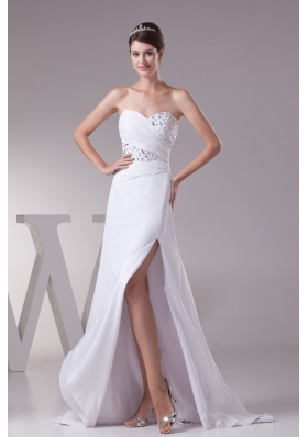 High Slit Fashionable Beaded Sweetheart Empire Wedding Dress