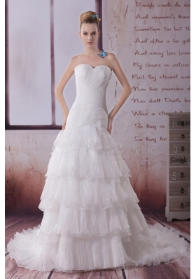 Ruffled Layers Mermaid Sweetheart Court Train Wedding Dress