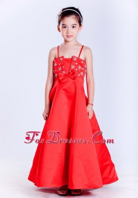 Fashion Red Straps Flower Girl Dress With Beading A-line