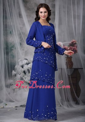 Blue Column Appliques Straps Chiffon Mother Of The Bride Dress