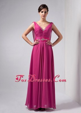 Hot Pink Mother Of The Bride Dress V-neck Ankle-length Beading