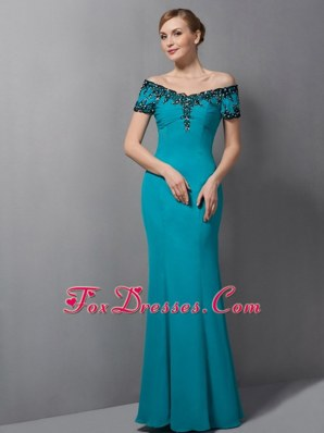Teal Appliques Mother Of The Bride Dress Mermaid Off The Shoulder