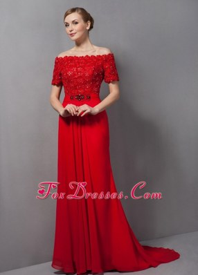 Off The Shoulder Red Lace Appliques Mother Of The Bride Dress