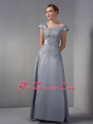 Gray Mother of The Bride Dress with Appliques Ankle-length