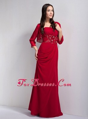 Strapless Beaded Red Mother of the Bride Dress