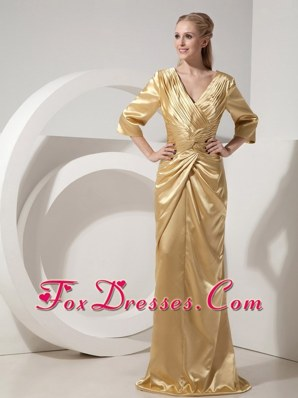Ruched Gold Mother of the Bride Dress with Brush