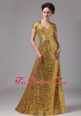 Mother of the Bride Dress Gold with V-neck Sleeves