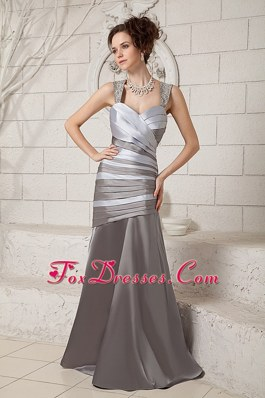 Pleats Beaded Straps Brush Train Mother Of The Bride Dress