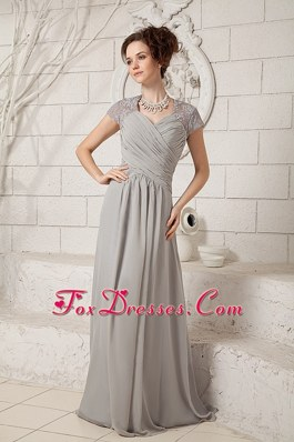 Grey Ruched Lace Mother Of The Bride Dress with V-neck