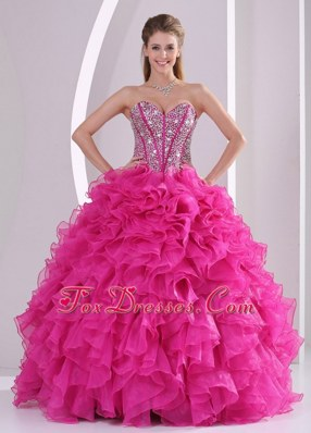 Beaded Ruffled Sweet 16 2013 Hot Pink Sweetheart  Quinceanera Dress