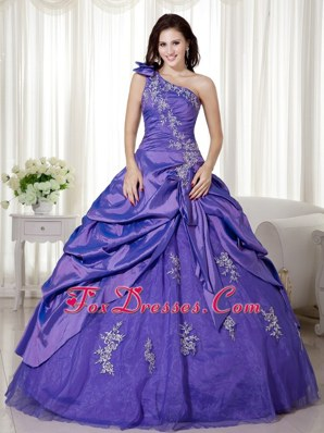 One Shoulder 2013 Purple Quinceanera Dress with Appliques