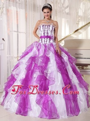 2014 Colorful Ball Gown Strapless Beading Quinceanera Dress