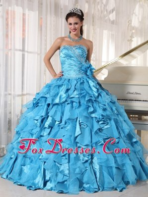 Teal Sweetheart Beading Ball Gown Quinceanera Dress in 2013