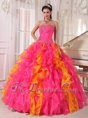 2013 Hot Pink and Orange Sweetheart Sequin Quinceanera Dress