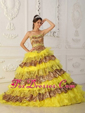 Beautiful Quinceanera Dress Yellow A-Line Strapless Leopard