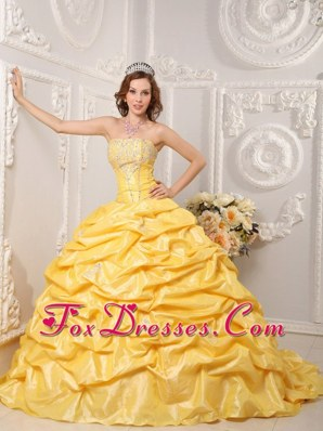 Yellow Strapless Court Train Beading Quinceanera Dress Pick-ups