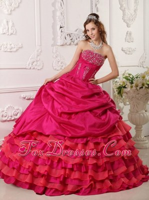 Red Ball Gown Strapless Beading Quinceanera Dress Pick-ups 2013
