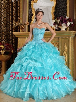 Aqua Blue Ball Gown Sweetheart Quinceanera Dress Floor-length