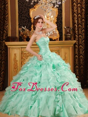 2013 Sweetheart Floor-length Apple Green Quinceanera Dress