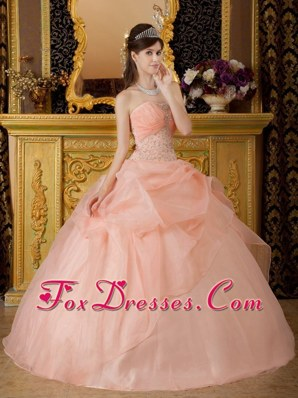Pink Ball Gown Strapless Quinceanera Dress Floor-length Beading
