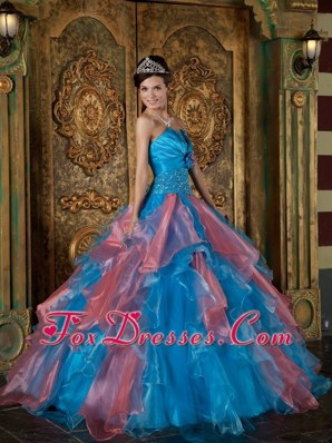 Blue 2013 Ball Gown Quinceanera Dress Strapless Beading Ruffle