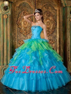 2013 Blue and green Quinceanera Dress Strapless Ruffle