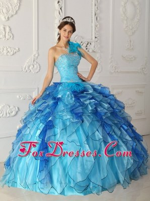 Blue Ball Gown 2013 One Shoulder Beading Quinceanera Dress